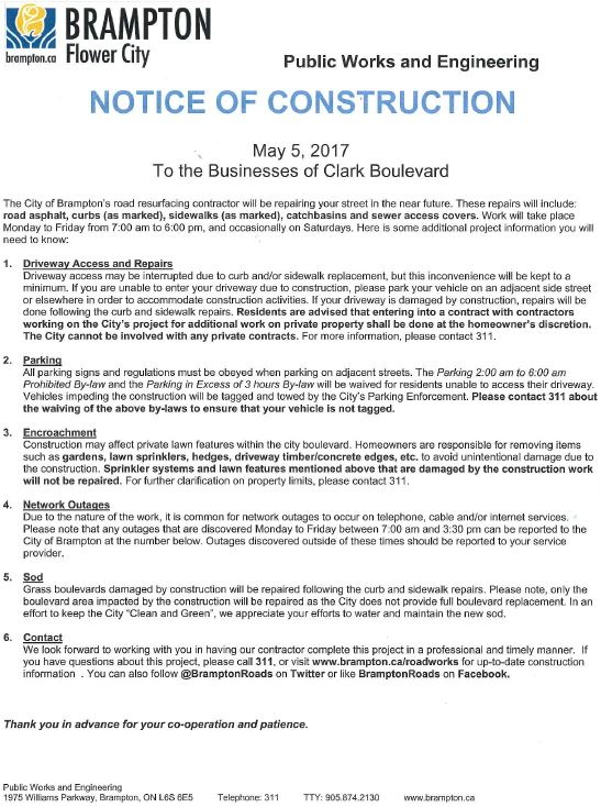 Notice of Construction Clark Blvd. and Orenda Road.JPG