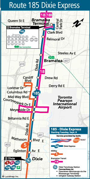 City of Brampton Brampton Transit New Route 185 Dixie Express
