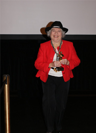 Cecilia Peters winning a 'just for fun' award for her help with the DVD